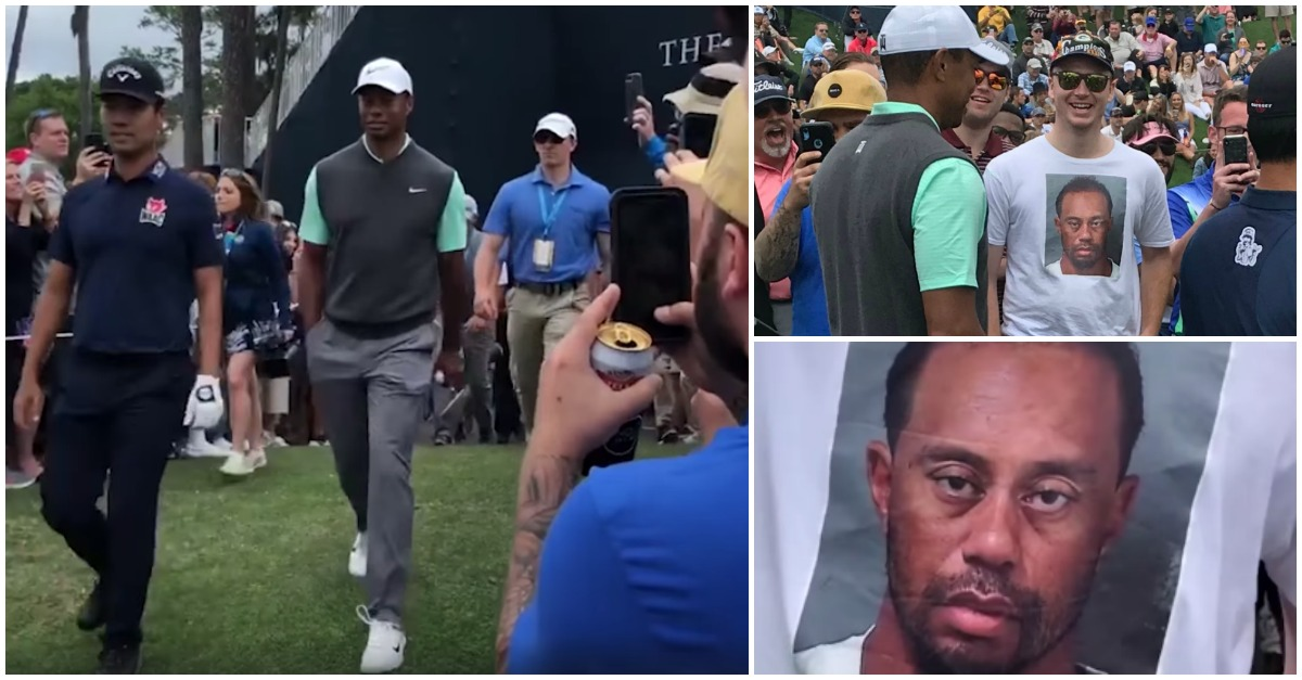 07b585995 A reação de Tiger Woods ao ver um fã com uma t-shirt feita com a sua pior  foto